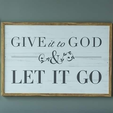 """24"""" x 36"""" Black and Sky Blue 'Give it to God and Let it Go' with Wooden Border Wall Plaque - N/A"""
