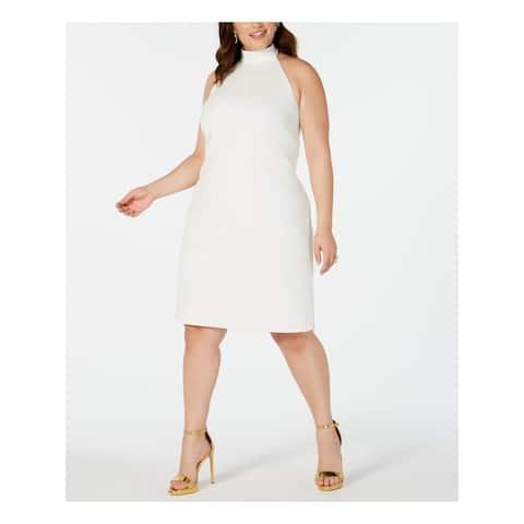TEEZE ME White Sleeveless Knee Length Dress 24