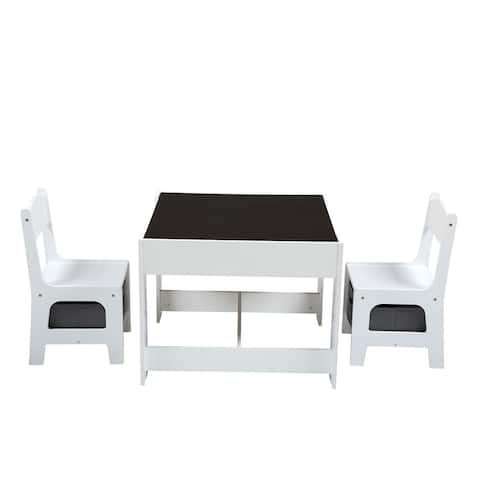 3-in-1 Children Activity Table Set with Storage, Blackboard, Double-Sided Table for Drawing