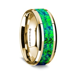 14K Yellow Gold Polished Beveled Edges Wedding Ring With Emerald Green And Sapphire Blue Opal Inlay 8 Mm
