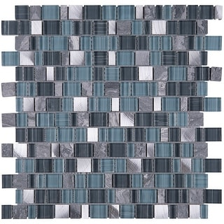 TileGen. Cubemax Random Sized Mixed Material Tile in Gray/Blue Wall Tile (10 sheets/9.7sqft.)