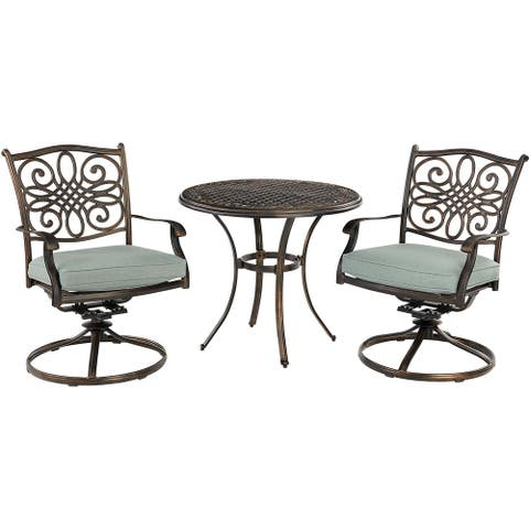Agio Renditions 3-Piece Set with 2 Swivel Rockers and 32-in. Cast-Top Table, Featuring Sunbrella® Fabric in Mist Blue