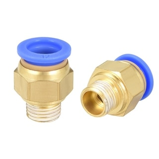 """2 Pcs 1/4"""" G Male Straight Thread 12mm Push In Joint Pneumatic Quick Fittings"""