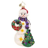Christopher Radko Glass Snowtime Like Christmas Snowman Holiday Ornament #1017432 - WHITE