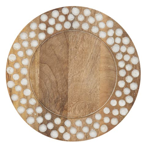 Wooden Charger Plates with Dot Design (Set of 4)