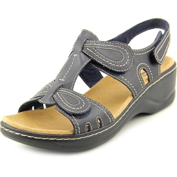 Clarks Narrative Lexi Walnut Q Women W Open Toe Leather Blue Wedge Sandal