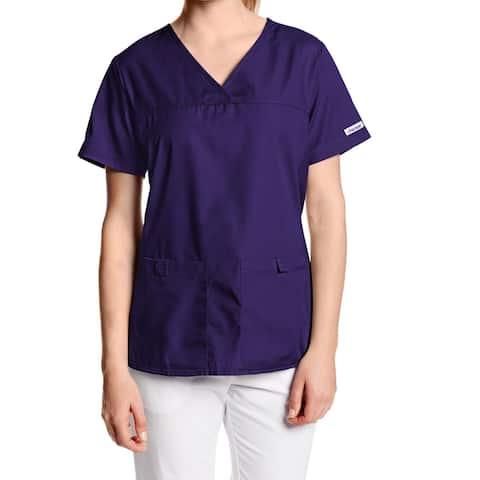 Cherokee Womens Scrub Tops Purple Size XL V-Neck Knit Side Panels