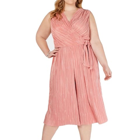 Connected Apparel Women's Jumpsuit Blush Pink Size 20W Plus Pleated