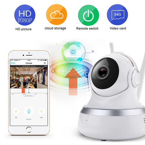 Mini Wifi IP Camera,AGPtek 1080P HD Home WiFi Wireless Security Surveillance Camera System - White - S