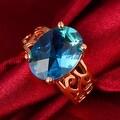 Saphire Center Rose Gold Ring - Thumbnail 2