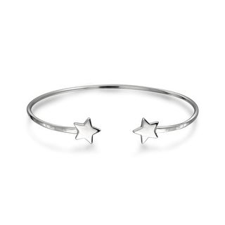 Bling Jewelry 925 Silver Modern Stars Open Thin Stackable Bangle Bracelet