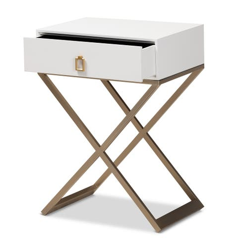 Patricia Modern and Contemporary White Finished Wood and Powder Coated Brass Effect Metal 1-Drawer Nightstand