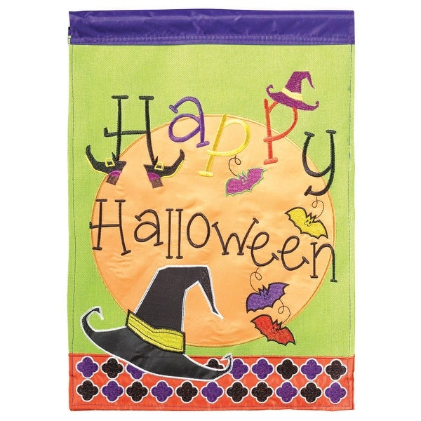 """Purple and Green Double Sided """"Happy Halloween"""" Burlap Garden Flag 18"""" x 13"""" - N/A"""