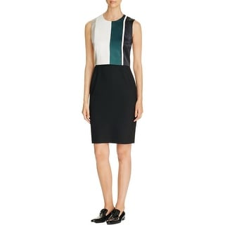 BOSS Hugo Boss Womens Wear to Work Dress Mixed Media Color Blocked