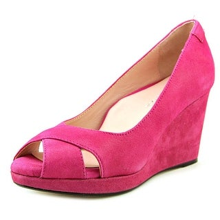 Taryn Rose Caylee Women Open Toe Leather Pink Wedge Heel