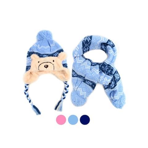 Kid's Warm Fun Bear Animal Fashion Winter Scarf & Hat Set for Boy's & Girl's - One Size