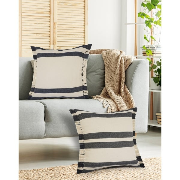 Double Blue Border Striped Throw Pillow with Fringe. Opens flyout.