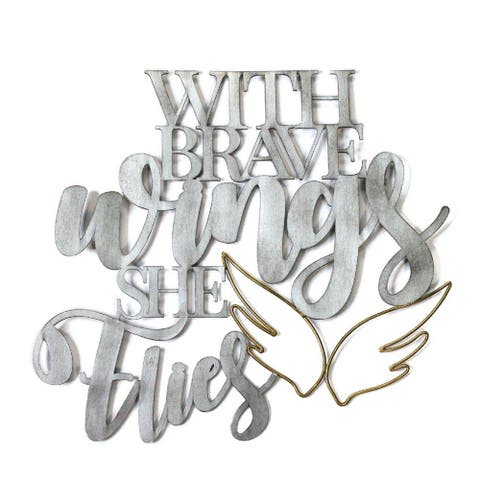 """Stratton Home Decor Handcrafted """"With Brave Wings She Flies"""" Metal Word Art"""