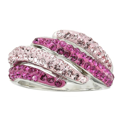 e3bef214d Crystaluxe Ring with Pink and Rose Swarovski Crystals in Sterling Silver