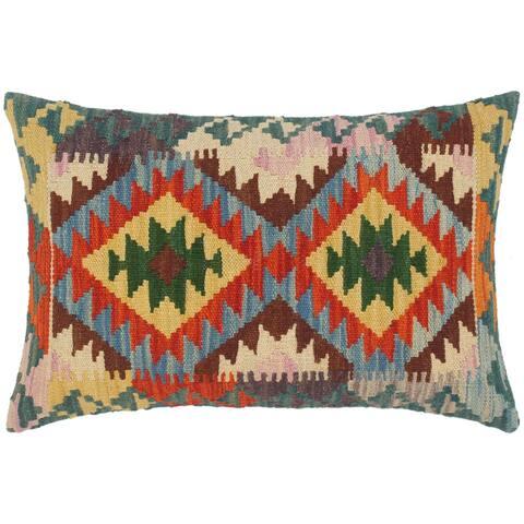 Bohemian Rashad Hand Woven Turkish Kilim Throw Pillow 22 in x 15 in