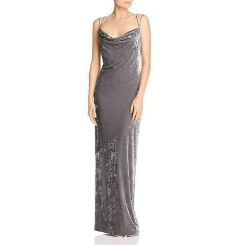 Rachel Zoe Womens Alessia Evening Dress Velvet Cowl Neck - Charcoal