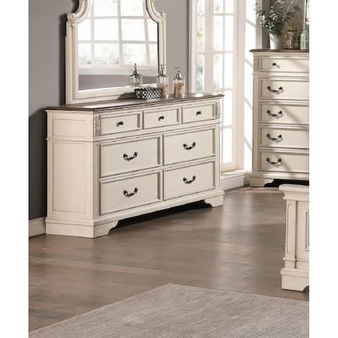 7 Drawers Two tone Wood Dresser In Antique White FInish