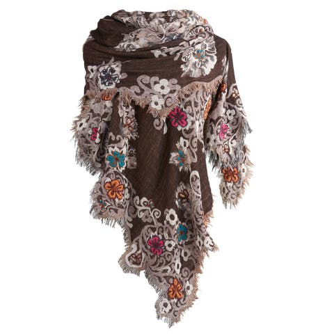 Catalog Classics Women's Floral Scalloped Scarf - Brown Embroidered Wrap Shawl - One size