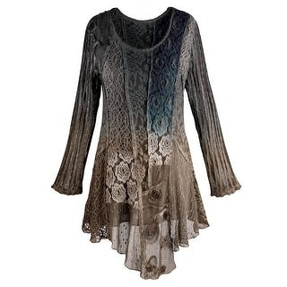 Women's Tunic Top - Blues And Browns Lace Overlay Long Sleeve Blouse