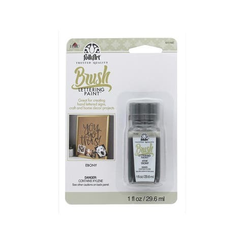 61116 plaid folkart brush lettering paint 1oz card ebony