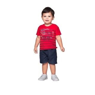 Baby Boy Shirt Newborn Infant V-Neck Striped Graphic Tee Pulla Bulla 3-12 Months
