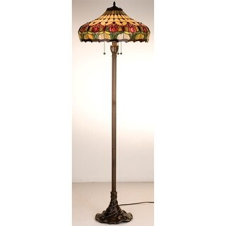 Meyda Tiffany 11070 Stained Glass / Tiffany Floor Lamp from the Colonial Tulip Collection