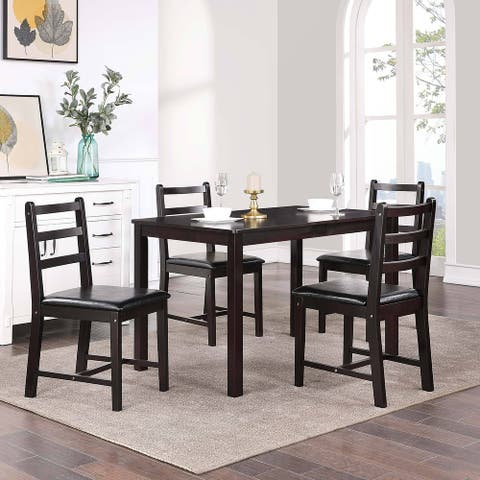 """Modern Rectangle Coffee Rubber Wooden Dining Table Set of 5 - L42.5""""*W25.5""""*H29"""""""