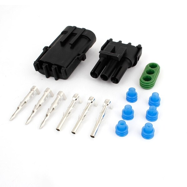 Unique Bargains Black Kits 3 Pin Weather Proof 3 Way Connector Car Scooter ATV UTV RV