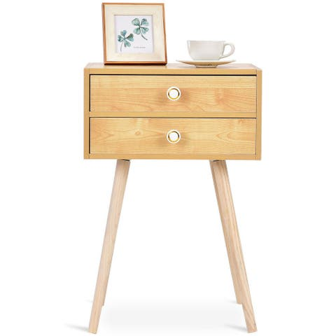 Costway Mid Century Modern 2 Drawers Nightstand In Natural Sofa Side Table End Table - 1PC