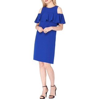 Tahari ASL Womens Mini Dress Ruffled Cold Shoulder