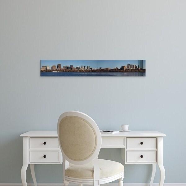 Easy Art Prints Panoramic Image 'Boston Skyline in winter on half frozen Charles River, Massachusetts' Canvas Art