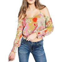 Guess Pink Multi Womens Size Small S Cold Shoulder Floral Blouse