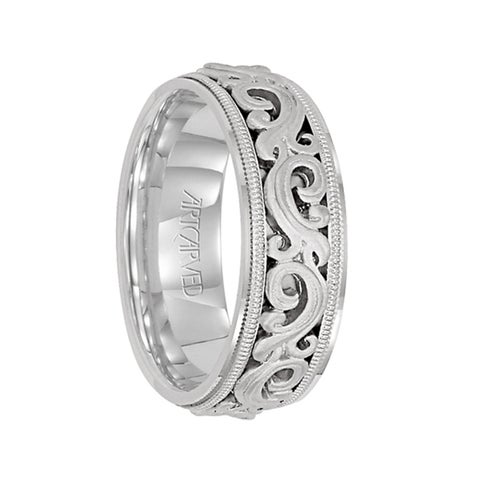SOVEREIGN Palladium Wedding Band with Floral Pattern by Artcarved - 7.5 mm