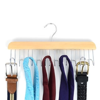 Matte Natural Wooden Belt & Tie Rack BHOOK10 - One size