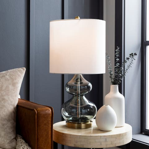 "Luna Translucent Grey Glass 25-inch Table Lamp - 25""H x 12""W x 12""D"