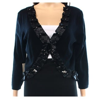 After The Rain NEW Black Women's Size Medium M Cardigan Embellished Sweater