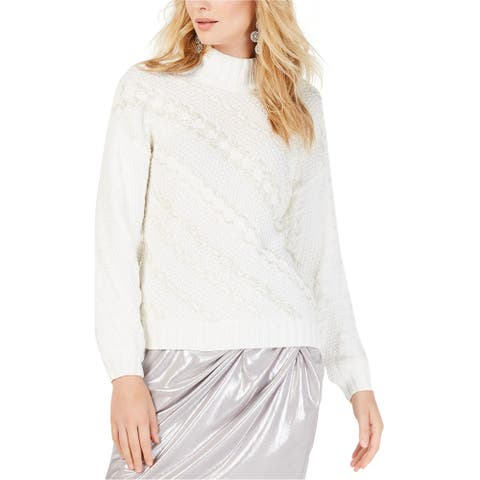 I-N-C Womens Beaded Cable Knit Pullover Sweater