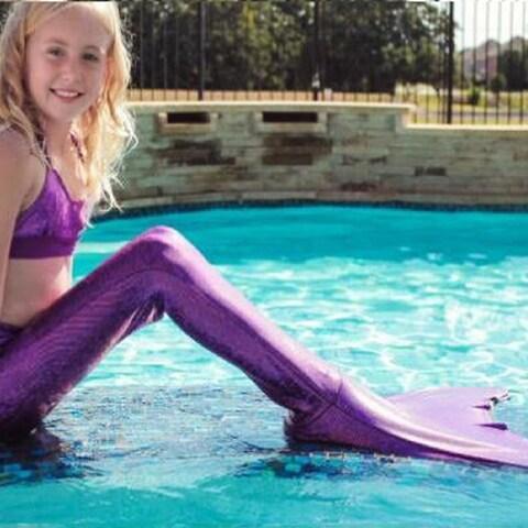 Girls' 3 Piece Mermaid Swimsuit w/ Tail