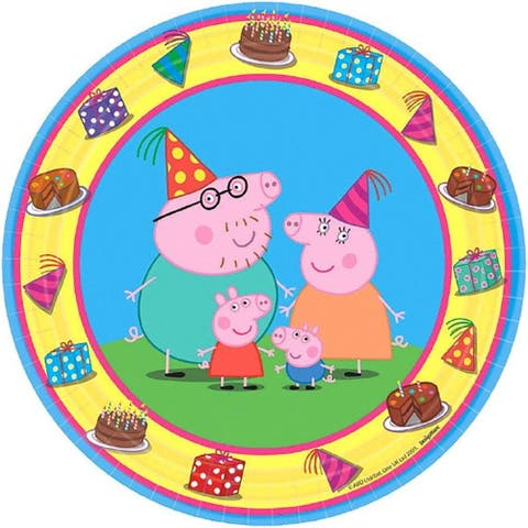 """Peppa Pig 7"""" Round Paper Plates, 8 Count - Multi"""