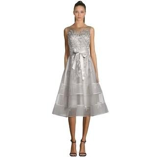 Teri Jon Sequin Embellished Applique Lace Cocktail Dress