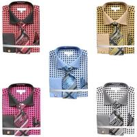 Men's Lattice Work Pattern Dress Shirt French Cuffs Tie Hanky Cufflinks