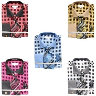 Men's Lattice Work Pattern Dress Shirt French Cuffs Tie Hanky Cufflinks (More options available)