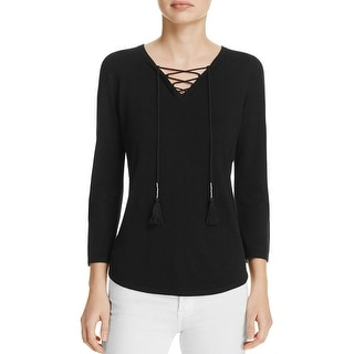 T Tahari Womens Gianna Pullover Sweater Open Knit Sleeves Lace Up