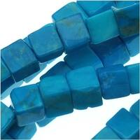 Dyed Howlite Gemstone Beads, Cube 4mm, 16, Turquoise Blue