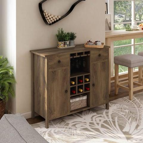 Carbon Loft Mulgrew Distressed Walnut Wine Cabinet